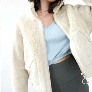 Forever 21+Teddy Bear jacket+Fleece Zip Up+Hoodie+Cream+S
